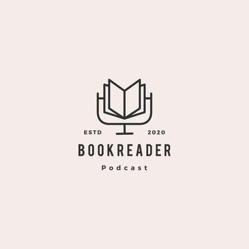 book podcast logo hipster retro vintage icon for book blog video vlog review channel