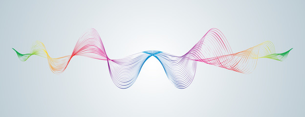 Waveform smooth curved lines Abstract design element Technological background with a line in waveform Stylization of a digital equalizer Smooth flowing wavy stripes of a rainbow made by blends Vector