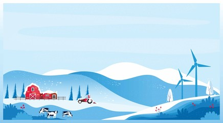 Printed kitchen splashbacks Light blue Panoramic vector illustration of Countryside landscape in winter,banner of farm house.The snowy blue mountain,hill with snow fall,barn and cow. Concept of organic cattle farm in winter.red blue color