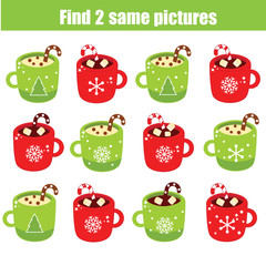 children educational game. Find two same pictures. Find identic mugs. New Year theme activity for kids and toddlers