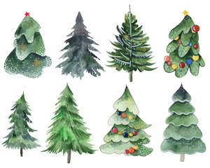 Watercolor dipart coniferous branches, Christmas trees, pine trees on a white background. Needles, Branches, pine, tree, needles, snow, garland, berries, foliage, fluffy, spruce, oat