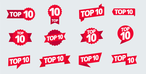 Top 10 heading title set. Best ten list. Word on ribbon. Winner tape award text title.