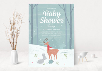 Baby Shower Invitation Layout with Winter Scene Illustration