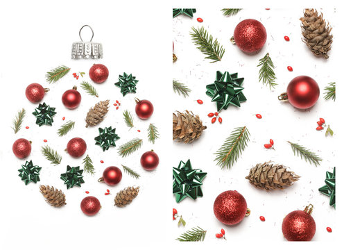 Christmas decoration items isolated on white background, top view. Christmas, winter holiday, new year concept.