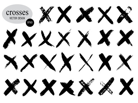 Letter X logo.Cross sign graphic symbol. Set of hand-drawn signs.Crossed brush strokes.Vector illustration