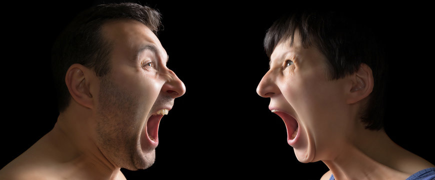 Man and woman yell at each other on black background.
