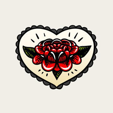 Flower in heart tattoo in vintage style. Retro American old school sketch. Hand drawn engraved retro illustration for t-shirt and logo or badge.