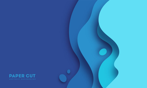 Abstract blue paper cut background with simple shapes. Modern vector illustration for concept design. Realistic 3d layered smooth bending objects. eps10