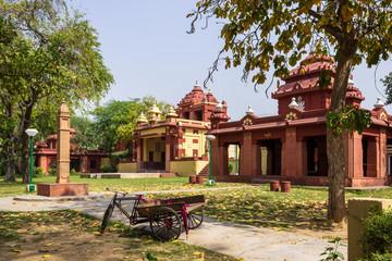 View on side temples of Shri Laxminarayan Temple, Birla Mandir, Hindu Vishnu Temple in New Delhi, India, Asia.