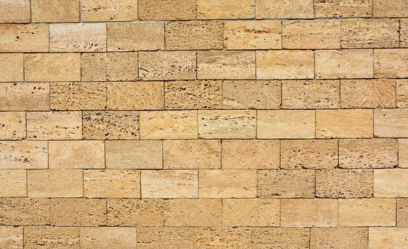 Shell Limestone Blocks Wall. Shell limestone wall texture background.