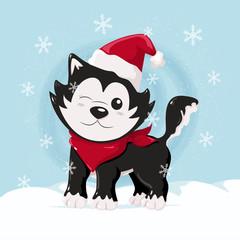 Cute christmas husky on the snow