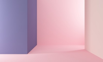 Abstract geometric background with pink and lilac wall. Backdrop design for product promotion. 3d rendering Wall mural
