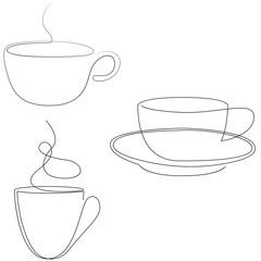 Teacup continuous line. One line tea cup. Vector illustration set.