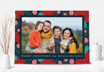 Floral Christmas Card Layout