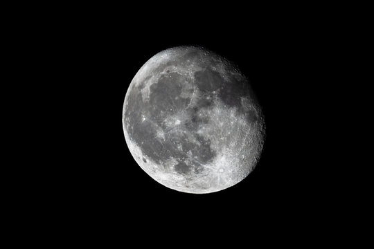 Moon lunar sphere isolated on a black background useful for screen blending or graphic brush