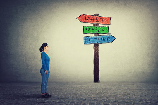 Side view of young woman standing in front of a signpost with arrows shows past, present and future. Lost in time colorful road sign, destiny evolution concept of business aspirations.
