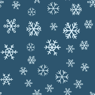 Snowflakes seamless pattern. Snow winter holidays background texture. Christmas elements.