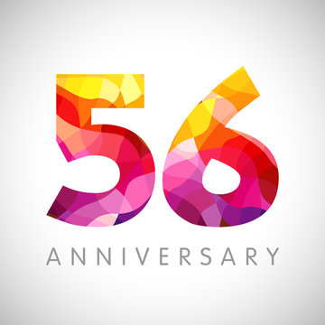 56 th anniversary numbers. 56 years old yellow coloured logotype. Age congrats, congratulation idea. Isolated abstract graphic design template. Creative 5, 6 3D digits. Up to 56% percent off discount.
