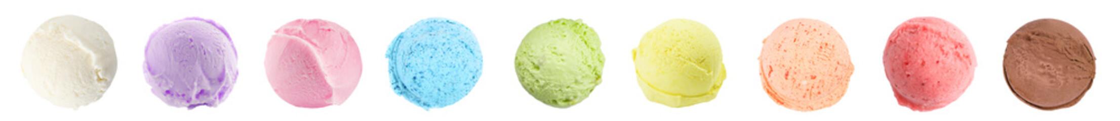 Scoop of delicious ice cream on white background