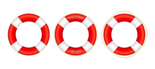 Realistic Style, set lifebuoy Isolated on White Background. Vector stock illustration.