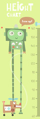 Kids height chart with cute robot and robot dog in Scandinavian style. Vector Illustration. Childish meter wall for nursery design.