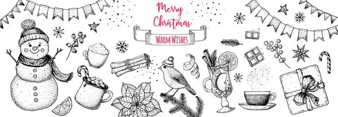 Christmas greeting card. Hand drawn sketch. Vector illustration. Christmas invitation design template. Sketch collection. Snowman, hot drinks, bird, gift box, holiday banner. New year holidays frame.