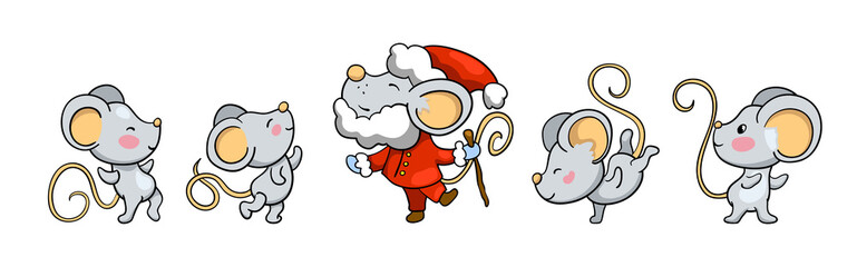 Cute mice dancing around Santa Claus mouse. 2020 year cartoon vector illustration on white background