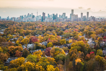 Aluminium Prints Toronto Autumn aerial photography of Toronto