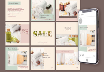 Set of 15 Minimalist Social Media Post Layouts. Endless Feed Template. Editable Account Design. Neutral Color Theme with Thin Golden Lines.
