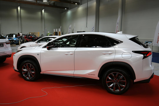 Lexus car displayed at 3rd edition of MOTO SHOW in Cracow Poland. Exhibitors present  most interesting aspects of the automotive industry