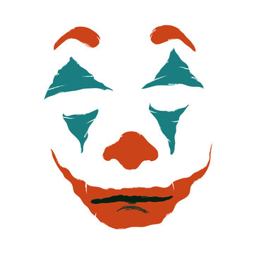 Makeup clown, joker. The stage image of the actor of cinema, circus, theater. Vector illustration of a joker face. Colored face painting in red and blue. Isolated on a white background.