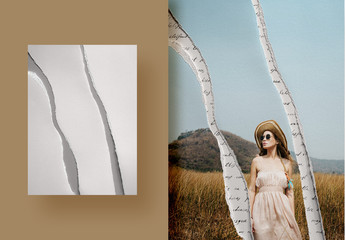 Photo Collage Mockup with Torn Paper