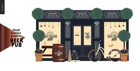 Brewery, craft beer pub -small business graphics -a bar facade-modern flat vector concept illustrations -a pub front, shocase with logo, table, barrel, bicycle, plants. pavement stand, blackboard menu
