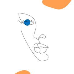 Foto op Aluminium One Line Art Minimal linear style. Minimalistic modern art. Female portrait. Abstract t-shirt print. Beauty and fashion concept. One line