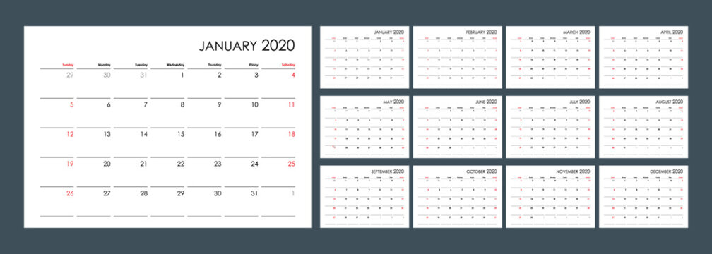 Calendar for 2020. An organizer and planner for every day. Week starts from Sunday. 12 months set. Wall layout. Clear template.