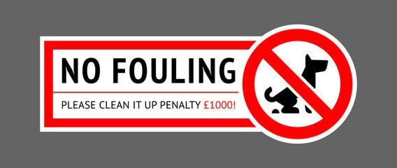 No dog fouling sign, modern sticker for park