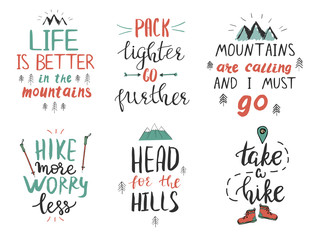 Set of motivational and inspirational quotes about mountains and hiking.
