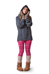 A young woman in warm winter outfit