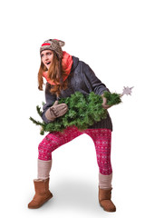 A young woman pretending to play the Christmas tree