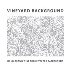 Fototapeta Vineyard. Vineyard engraving style drawing background and pattern. Grape, vine and leafs hand drawn vector illustration. Part of set. obraz