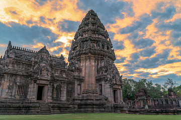 The beautiful stone castle in Phimai historical park. Prasat Hin Phimai ancient Khmer Temple in Nakhon Ratchasima Thailand. Phimai stone castle built from laterite stone in Angkorian period arts. Fototapete