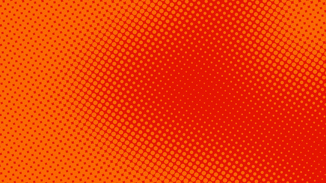 Orange red pop art background in retro comic style with halftone dots design, vector illustration eps10