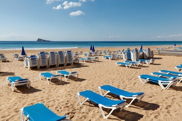 Blue Sunchairs on Beach in Benidorm Spain