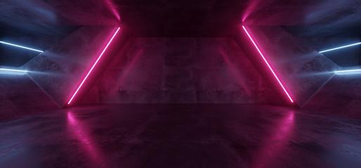 Sci Fi Futuristic Alien Tunnel Ship Corridor Underground Laser Purple Blue Neon Light Lines On Grunge Reflective Concrete Empty Space Background 3D Rendering