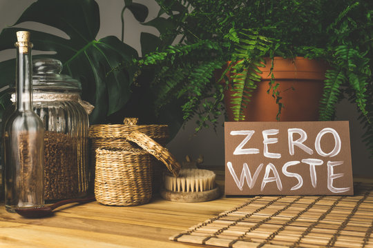 Zero waste concept. Reusable household items (cans, plates, bags). Environmental movement to reduce plastic waste