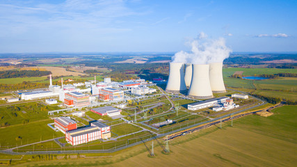 Aerial view of nuclear power plant Temelin. South bohemia in Czech republic, European union. Large nuclear power station from above. Background concept.
