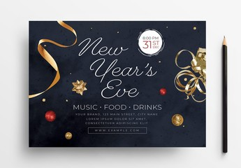 New Year's Eve Flyer Layout with Festive Decorations