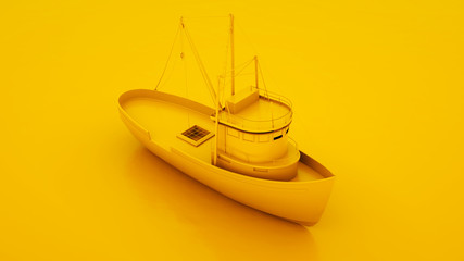 Fishing Boat. Minimal idea concept. 3d illustration