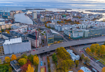 Aerial view of Helsinki. Blue sky and clouds and colorful buildings. Helsinki, Finland.