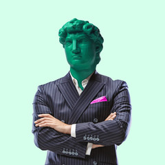 Business status. Office man headed by bright statue on green background. Headache. Negative space to insert your text. Modern design. Contemporary colorful and conceptual bright art collage.